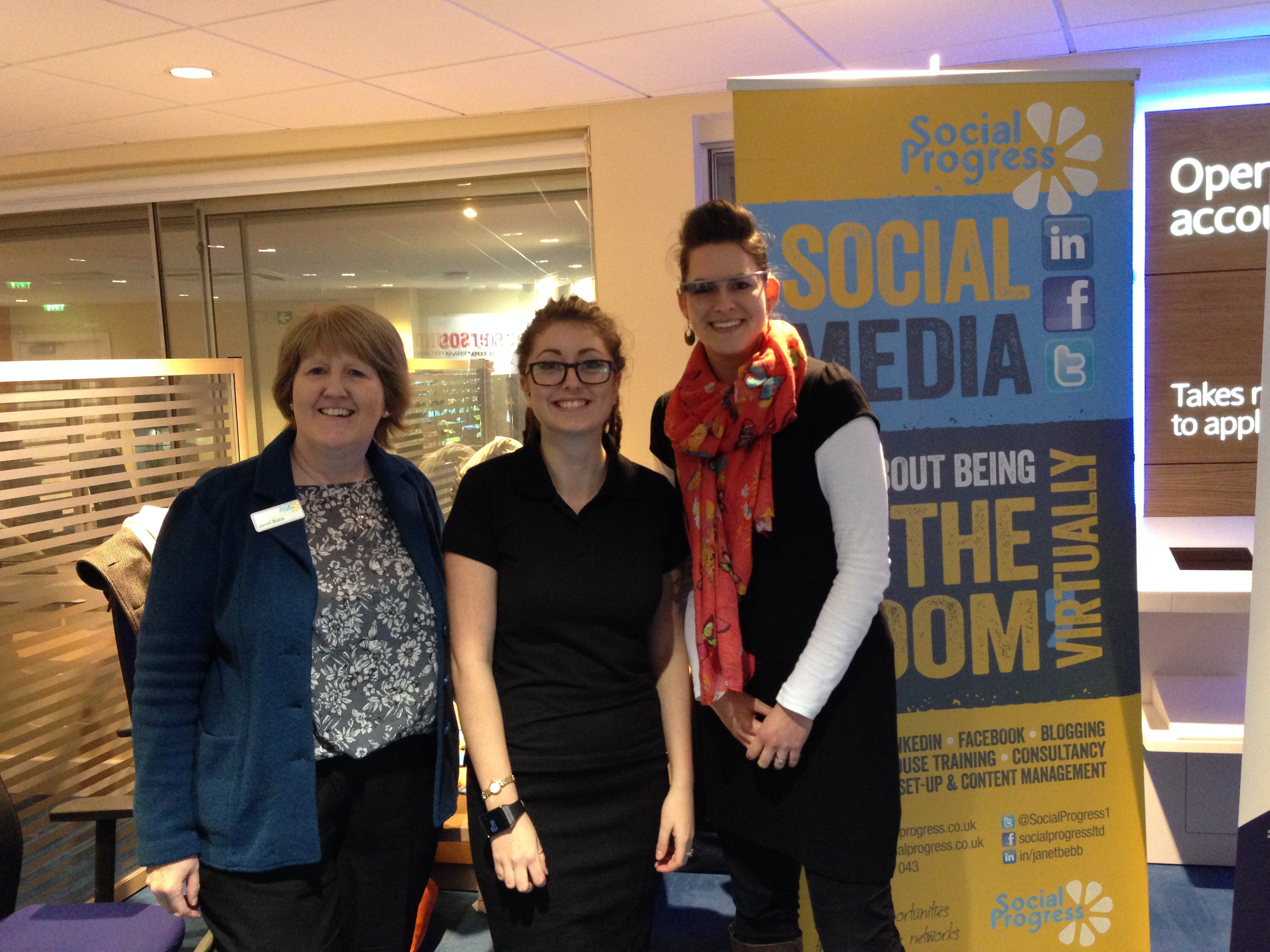 Janet & Esther with Gina (a Barclays Digital Eagle) at the Barclays Huddersfield Digital Business Club
