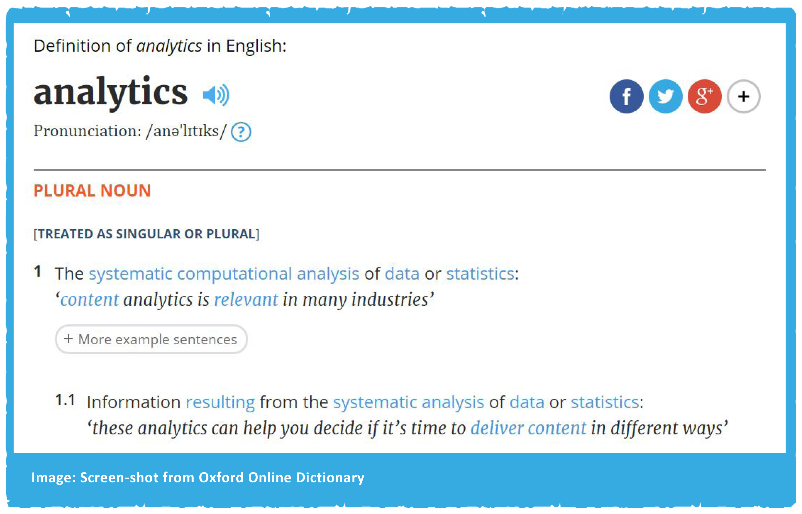 Oxford English Dictionary Definition of Analytics