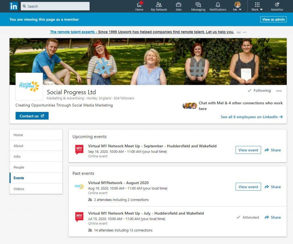 LinkedIn Company Page Events Tab